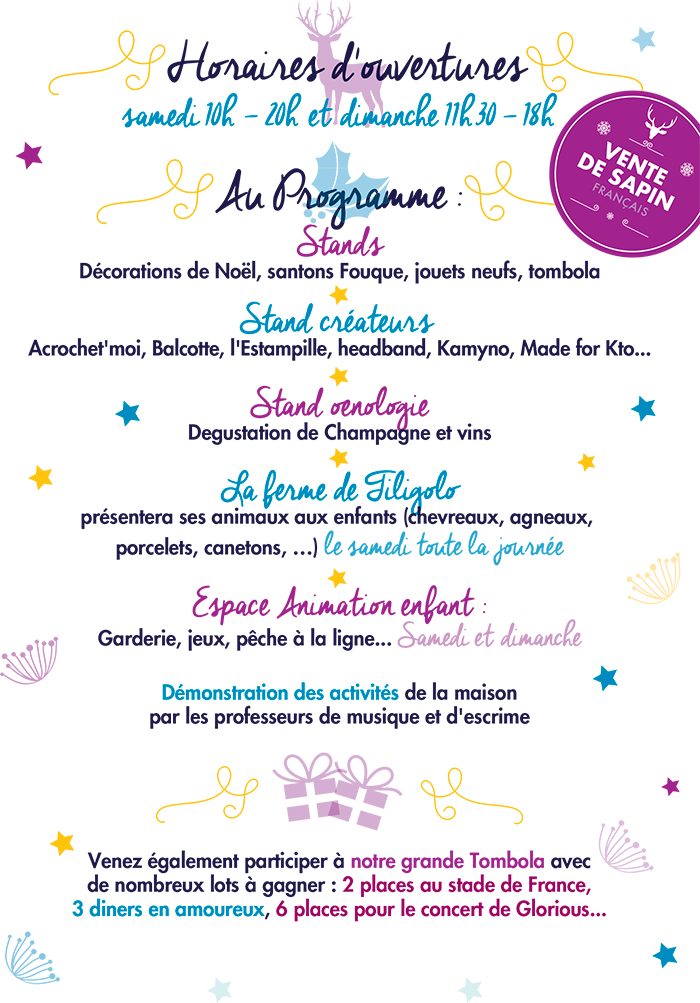 programme du marché de Noël, créateurs, Maison Ste Agnès Paris 75007