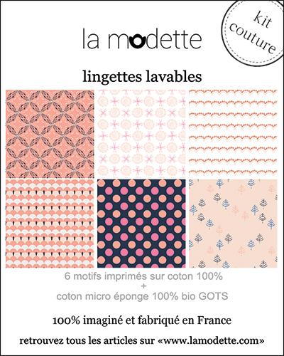 Kit lingettes démaquillantes rose et bleu La Modette